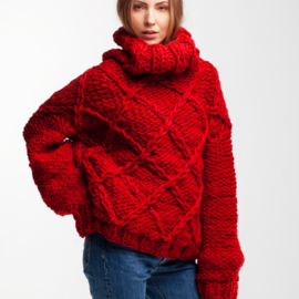 Drop Shoulder Oversized Sweater DIAMOND