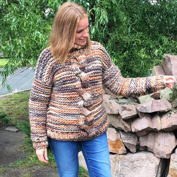 Chunky Cable Knit Sweater - High Neck – Photo 1