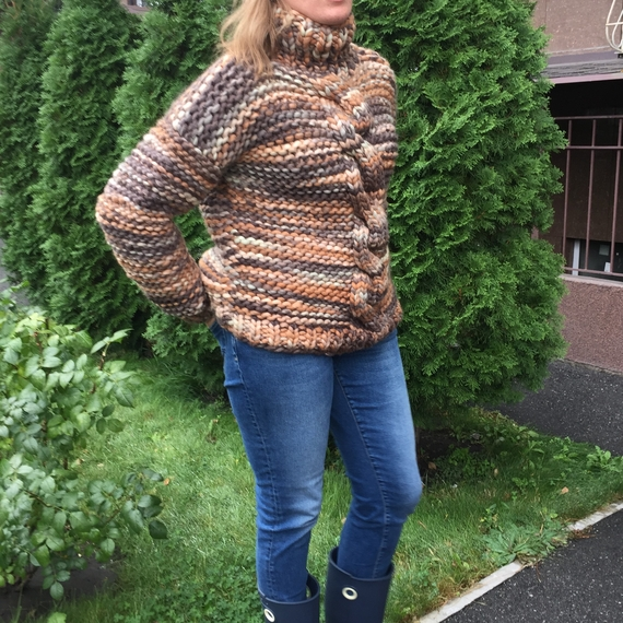 Chunky Cable Knit Sweater - High Neck – Photo 2