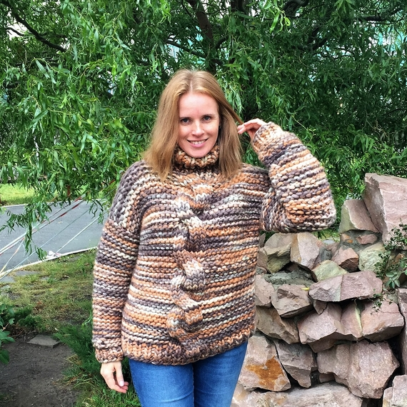 Chunky Cable Knit Sweater - High Neck – Photo 3