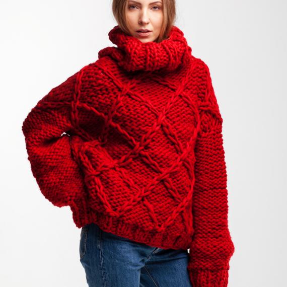 Drop Shoulder Oversized Sweater DIAMOND – Photo 1