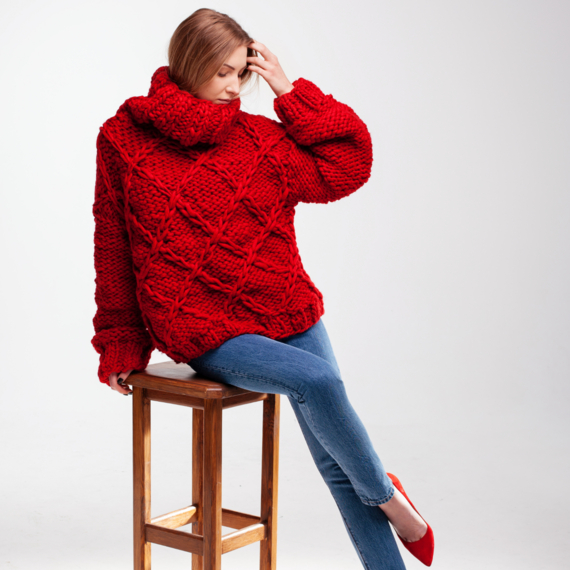 Drop Shoulder Oversized Sweater DIAMOND – Photo 5